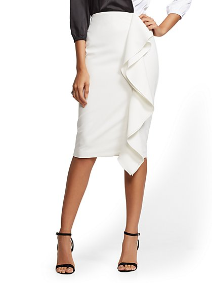 7th Avenue - Ivory Ruffled Pencil Skirt - New York & Company