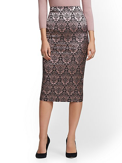 7th Avenue - Jacquard Pull-On Pencil Skirt - New York & Company