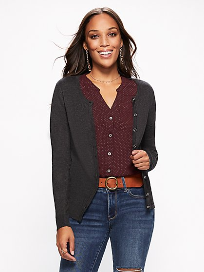 7th Avenue - Jeweled Crewneck Chelsea Cardigan - New York & Company