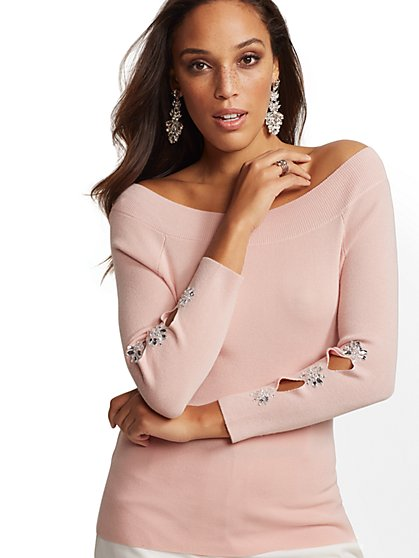 7th Avenue - Jeweled Off-The-Shoulder Sweater - New York & Company