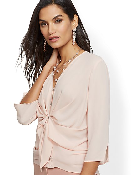 7th Avenue - Jeweled Twist-Front Blouse - New York & Company