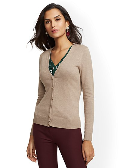7th Avenue - Jeweled V-Neck Chelsea Cardigan - New York & Company