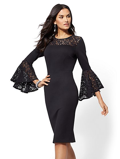 7th Avenue - Lace-Accent Bell-Sleeve Sheath Dress - New York & Company