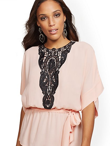 7th Avenue - Lace-Trim Kimono Peplum Top - New York & Company