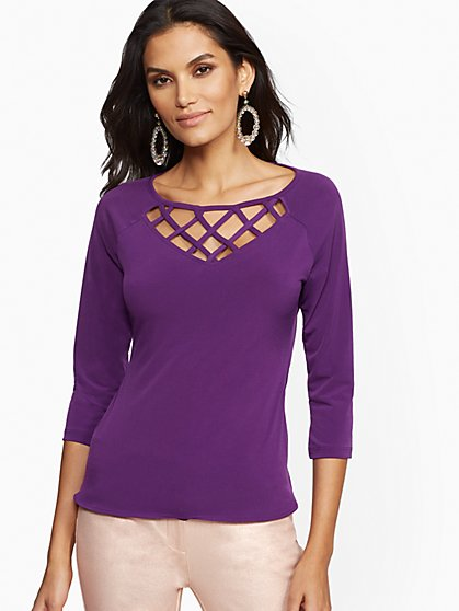 7th Avenue - Lattice V-Neck Top - New York & Company