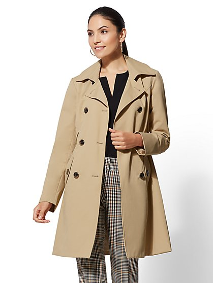 7th Avenue - Long Belted Trench Coat - New York & Company