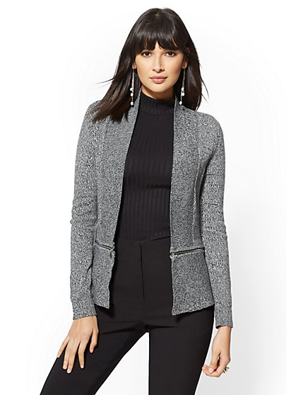 7th Avenue - Marled Zip-Accent Cardigan - New York & Company