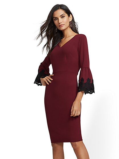 7th Avenue - Maroon Crochet Bell-Sleeve Sheath Dress - New York & Company