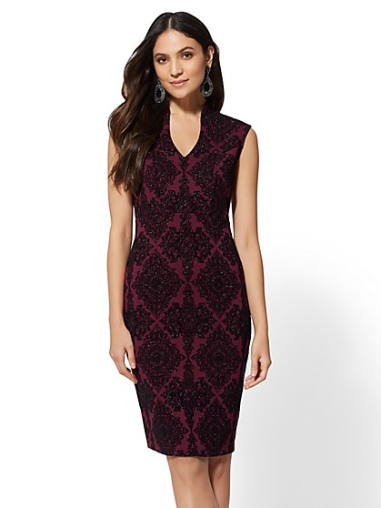 7th Avenue - Maroon Glitter-Finish Sheath Dress - New York & Company