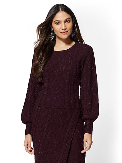 7th Avenue - Maroon Metallic Cable-Knit Sweater - New York & Company
