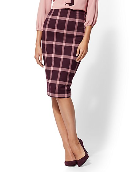 7th Avenue - Maroon Plaid Pencil Skirt - New York & Company