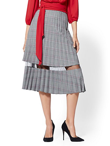 7th Avenue - Mesh-Inset Plaid Pleated Skirt - New York & Company