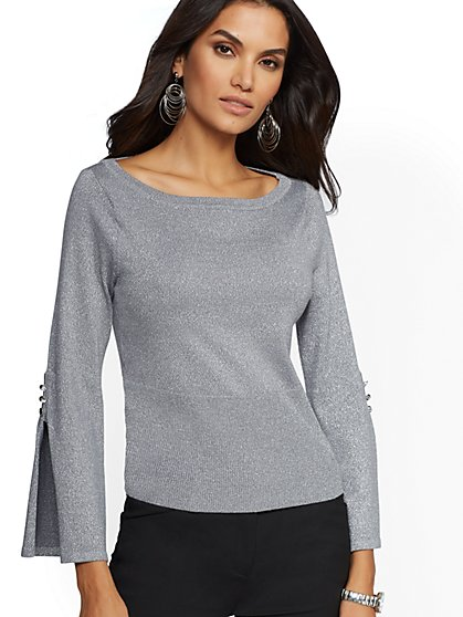 7th Avenue - Metallic Bateau-Neck Sweater - New York & Company