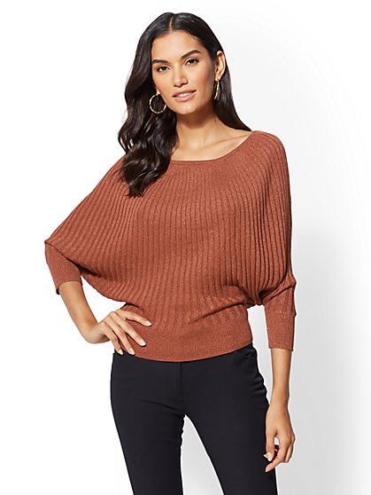 7th Avenue - Metallic Dolman Sweater - New York & Company