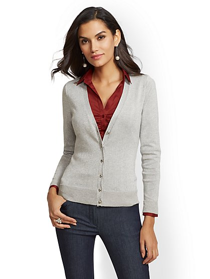 7th Avenue - Metallic Grey V-Neck Chelsea Cardigan - New York & Company