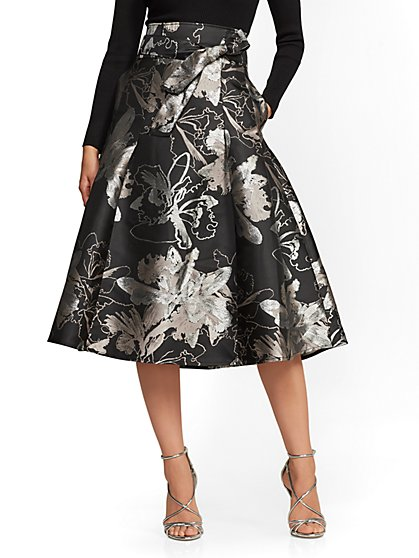 7th Avenue Metallic Jacquard Skirt New York Company
