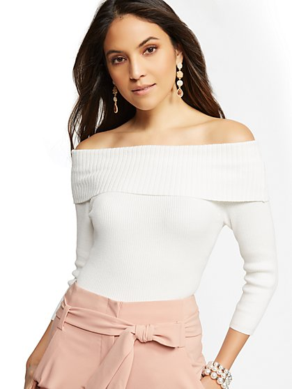 7th Avenue - Metallic Off-The-Shoulder Sweater - New York & Company