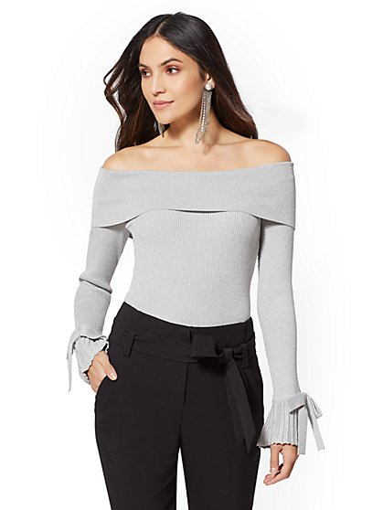69057d2206b 7th Avenue - Metallic Off-The-Shoulder Sweater - New York   Company ...