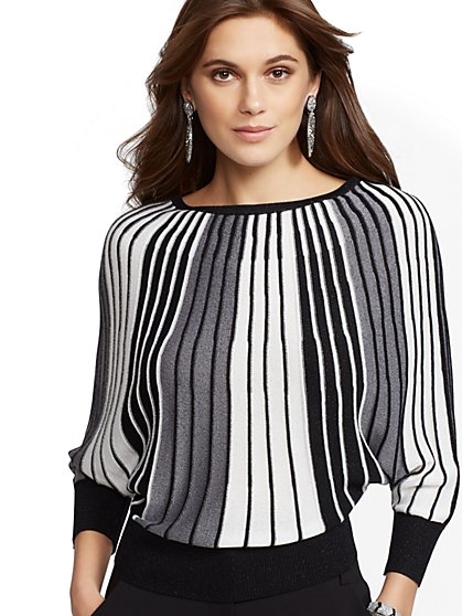 7th Avenue - Metallic Pleated Dolman Sweater - New York & Company
