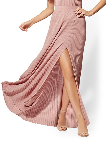 7th Avenue - Metallic Rose Pleated Sweater Maxi Skirt - New York & Company