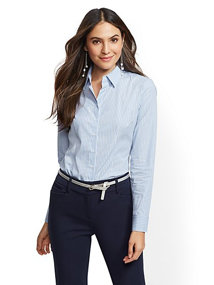 7th Avenue - Metallic Stripe Madison Stretch Shirt - New York & Company
