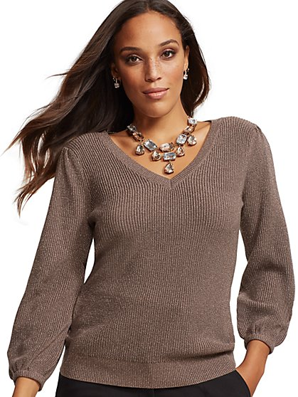 7th Avenue - Metallic V-Neck Sweater - New York & Company