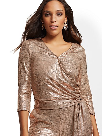 7th Avenue - Metallic Wrap Top - New York & Company