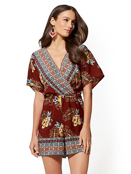 7th Avenue - Mixed-Print Wrap Romper - New York & Company