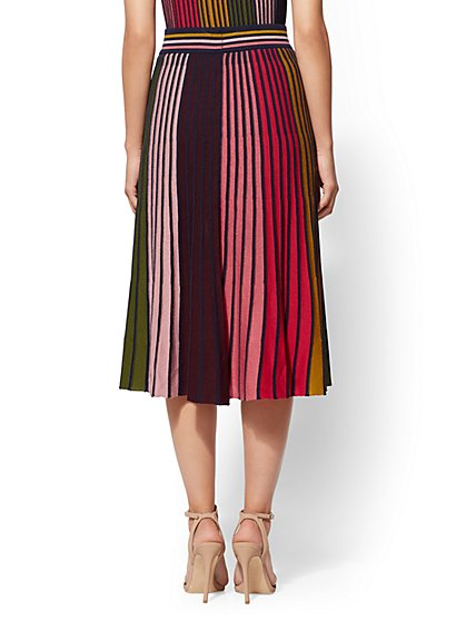b18451ffbc ... 7th Avenue - Multicolor Stripe Pleated Sweater Skirt - New York &  Company
