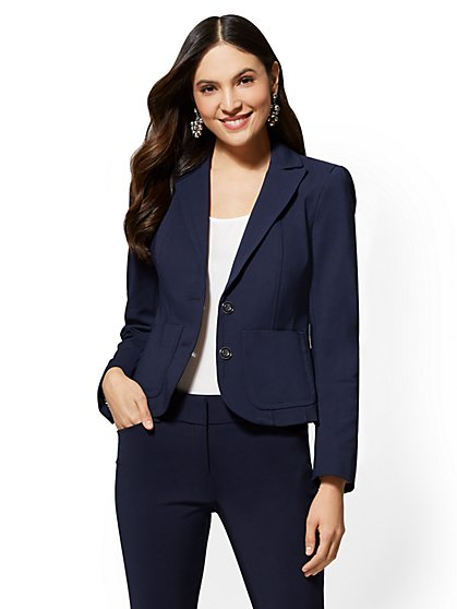 7th Avenue Navy Blue Two-Button Topstitched Jacket - All-Season Stretch - New York & Company