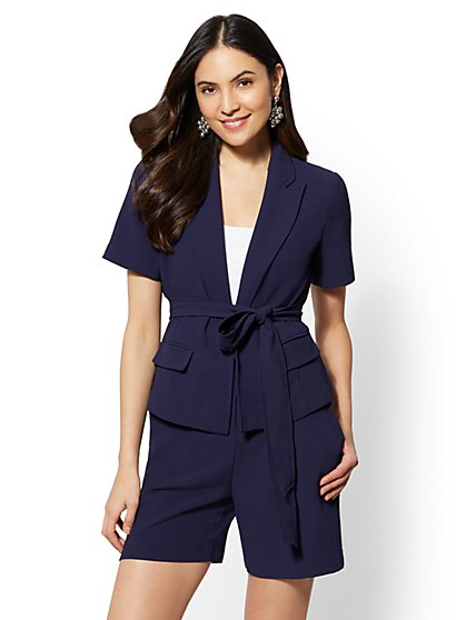 7th Avenue Navy Open- Front Jacket - New York & Company