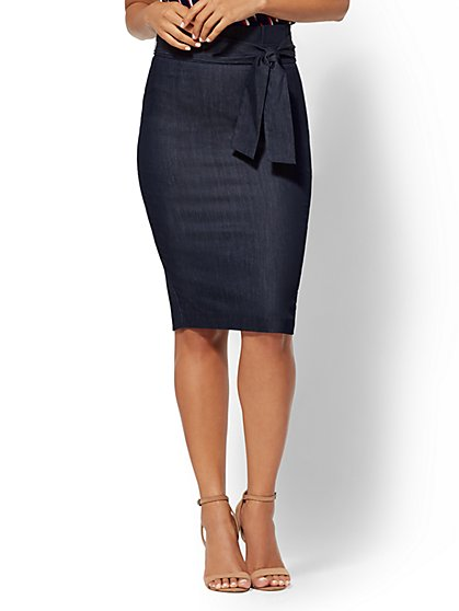 7th Avenue - Navy Paperbag-Waist Pencil Skirt - New York & Company