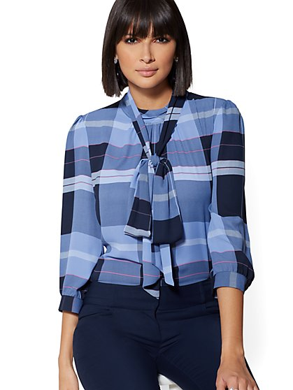 7th Avenue - Navy Plaid Bow Blouse - New York & Company