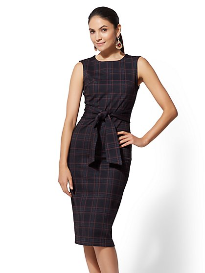 7th Avenue - Navy Plaid Sheath Dress - New York & Company
