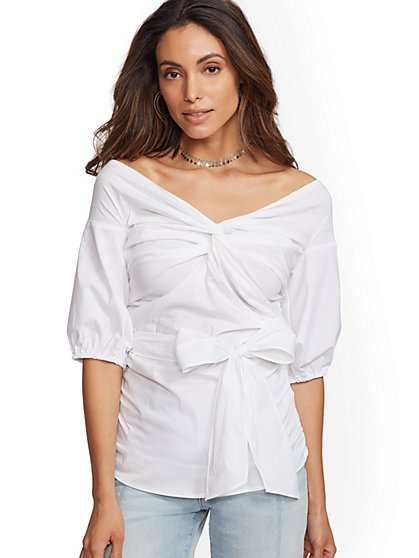 7th Avenue - Off-The-Shoulder Poplin Shirt - New York & Company