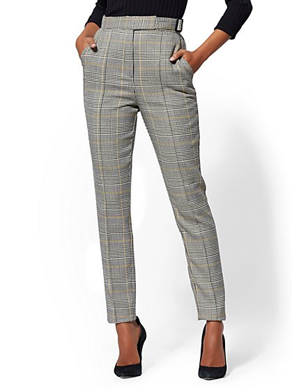 7th Avenue Pant - Belted Plaid Slim Leg - New York & Company