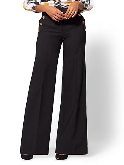 7th Avenue Pant - Black Button-Accent Wide-Leg Pant - New York & Company