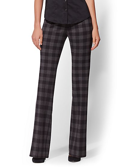 7th Avenue Pant - Black Check-Print Bootcut - Signature - Pull-On - New York & Company