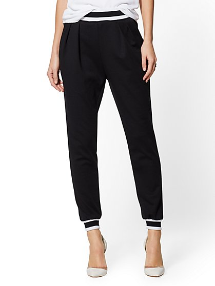 7th Avenue Pant - Black Contrast-Trim Jogger - New York & Company