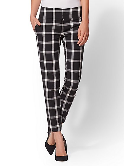 7th Avenue Pant - Black Plaid Slim Ankle - Modern - New York & Company
