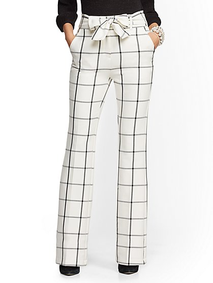 7th Avenue Pant - Black & White Plaid High-Waist Bootcut - New York & Company