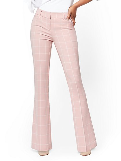 7th Avenue Pant - Bootcut - Modern - Pink Plaid - New York & Company