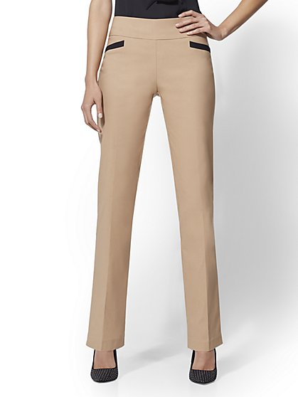 7th Avenue Pant - Camel Pull-On Straight Leg - New York & Company
