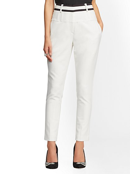 7th Avenue Pant - Contrast-Trim Ivory Slim Leg - New York & Company
