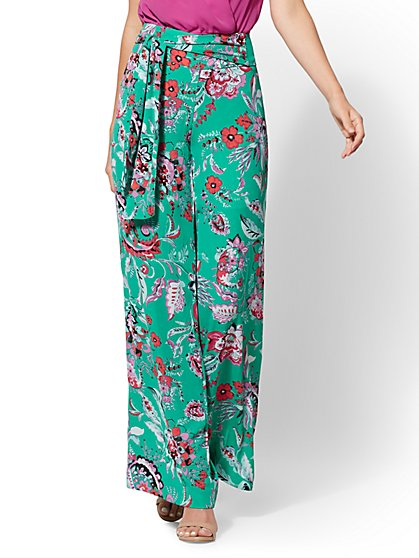 7th Avenue Pant - Green Floral Palazzo - New York & Company