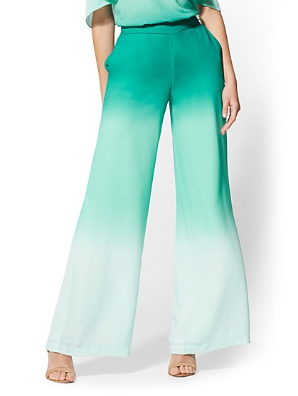 7th Avenue Pant - Green Ombre Palazzo - New York & Company