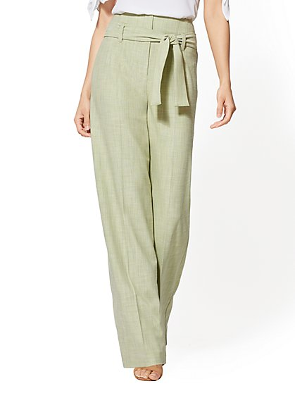 7th Avenue Pant - Green Paperbag-Waist Palazzo - New York & Company
