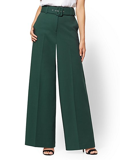 7th Avenue Pant - Green Wide-Leg - Signature -All-Season Stretch - New York & Company
