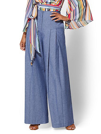 7th Avenue Pant - High Waist Pleated Palazzo Pant - New York & Company