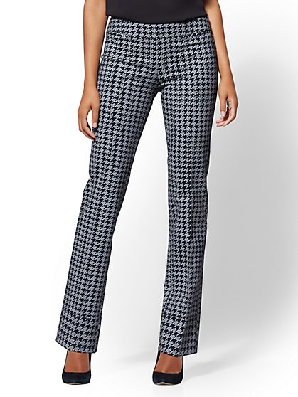 7th Avenue Pant - Houndstooth Pull-On Straight-Leg - Signature - Ponte - New York & Company
